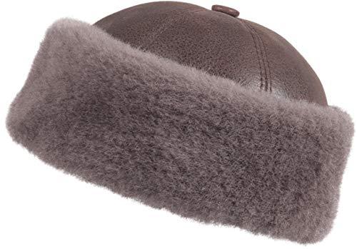 Zavelio Men's Shearling Sheepskin Winter Beanie Hat X-Large Cashmere