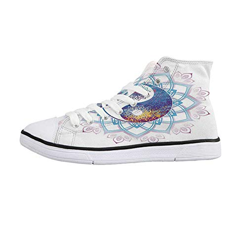 Ethnic Stylish High Top Canvas Shoes,Yin Yang Symbol Mandala Hippie Asian Design with Floral Swirl Frame Image Decorative for Men & Boys,US Size 10.5