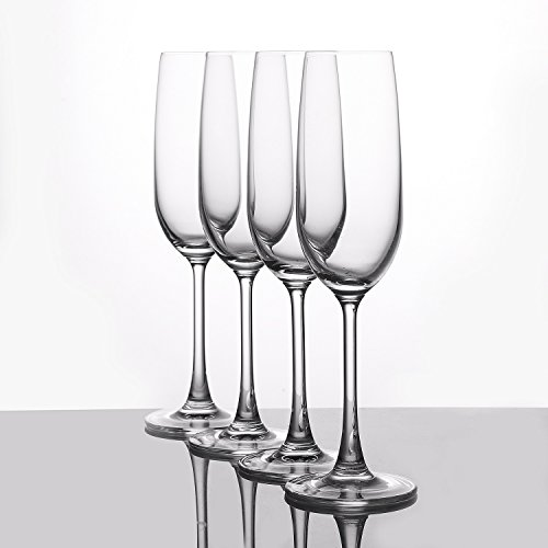 Crystal Champagne Flutes Glasses Set of 4 - Machine Made Glass 100% LEAD FREE 210ML/7FL OZ by WH Housewares