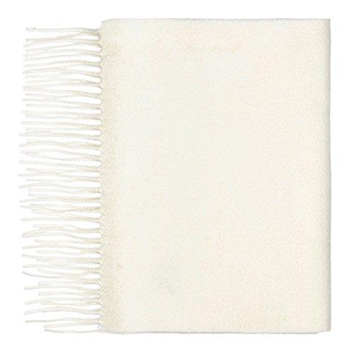100% Cashmere Scarf, Plain Scarf, White (Woven Scarf Plain)