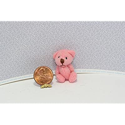Dollhouse Miniature Pretty in Pink Jointed Teddy Bear: Toys & Games