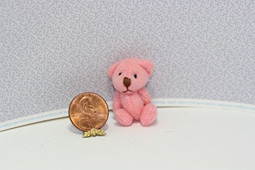 Dollhouse Miniature Pretty in Pink Jointed Teddy Bear from Dollhouse Miniature