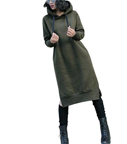 Invernale Forti Taglie Felpa Outwear Le Cappuccio Top Militare Per Donne Soffice L'inverno Nutexrol Lungo E L'autunno Largo Con Verde Felpe Abbigliamento Abito Pullover HRWqU