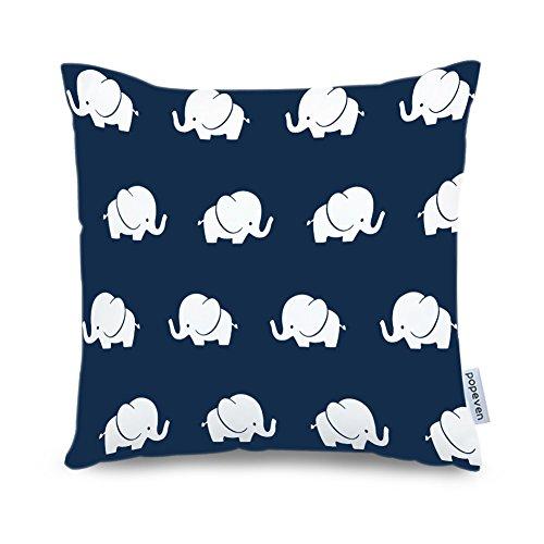 Popeven Elephant Decorative Pillow Case Cover Navy Blue Elephant Sofa Cushion Cover Bedding Pillowcase 18x18 inch