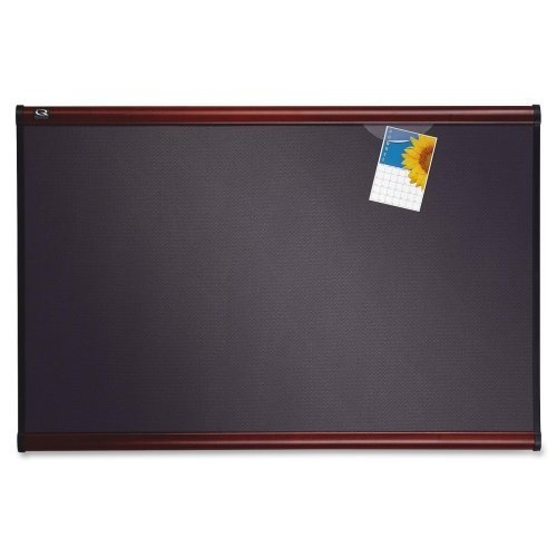 (Quartet Prestige Plus Heirloom Gray Diamond Mesh Bulletin Board - 36quot; Height x 48quot; Width - Mahogany Fabric Surface by Quartet)