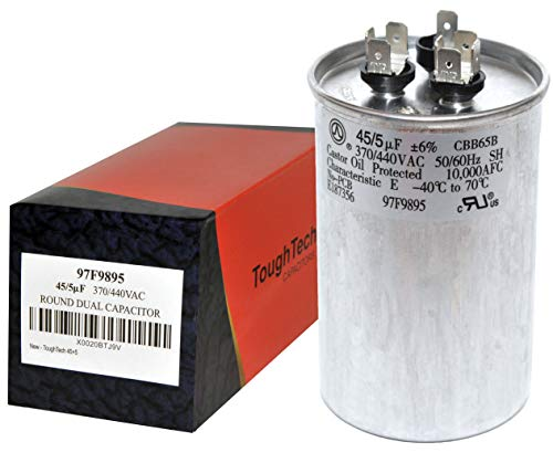 ToughTech 45+5 uf MFD 97F9895 Dual Run Round Capacitor 370 or 440 VAC for Air Conditioner Air Conditioning Run Capacitor