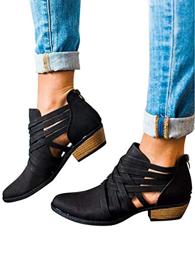 Athlefit-Womens-Strap-Ankle-Boots-Cut-Out-Criss-Cross-Block-Heel-Booties