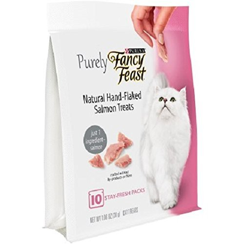 Cheap Purely Fancy Feast Natural Hand-Flaked Salmon Cat Treats, 1.06-oz pouch