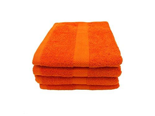 Terry Towels, Bath Towel, Orange, Set of 4 - Executive Black Red Border