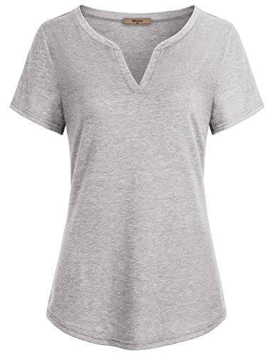 Miusey Business Casual Clothes for Women, Ladies V Neck Short Sleeve Casual Henley T Shirt Tunic Blouses Tops Gray - Ladies T-shirt Henley