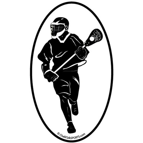 ChalkTalkSPORTS Guys Lacrosse Car Magnet | Guys Lax Player Silhouette | Black