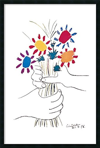 Framed Art Print, 'Hands with Bouquet (Fleurs et Mains)' by Pablo Picasso: Outer Size 25 x 37