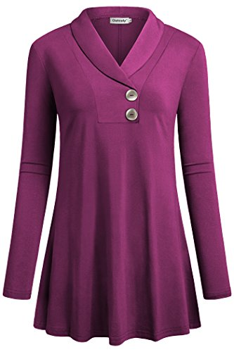 Ouncuty Women Tunic, Long Sleeve Casual Shawl Collar Shirt Magenta - Shirt Magenta