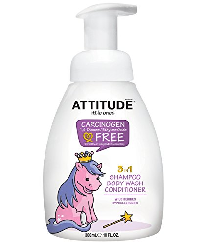 ATTITUDE 3 in 1 Foaming Shampoo, Body Wash and Conditioner, Wild Berries, 10 Fluid Ounce