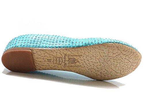 Chaussures Femme EDDY DANIELE 37 ballerines bleu clair cuir AW461