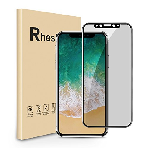 [1 Pack] iPhone X Privacy Screen Protector, RHESHINE Anti-Spy Anti-Peep Tempered Glass Screen Protector Cover for Apple iPhone X, 5.8 Inch