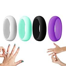 Silicone Wedding Ring for Women, Rubber Engagement Bands, Yoga, Fitness, Training, Crossfit Silicone Rings 4 Pack, Black, White, Teal, Purple, US sizes 6,7,8,9