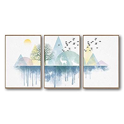 Abstract Geometric Nature And Deer - 3 Panel Framed Canvas