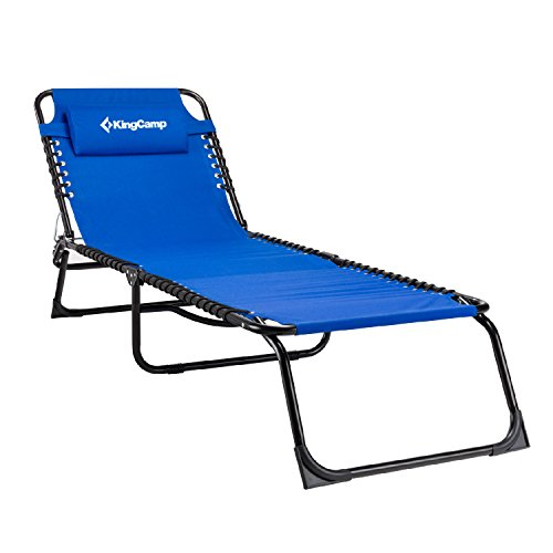 KingCamp Camping Cot Patio Foldable Chaise Lounge Chair Bed(Blue)