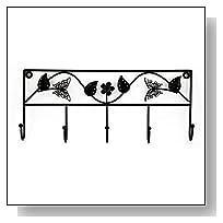 Adorox Metal 5 Hook Butterfly Flower Key Rack Wall Mounted Coat Scarf Accessory Holder (Black (1 Piece))