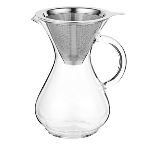 Pour Over Coffee Carafe by Coastline | 4 Cup Capacity (24 Ounces) | Hand Crafted Glass with Handle | Stainless Steel Reusable Filter | Perfect for Cold Brew Coffee | Hand Drip Coffee Maker
