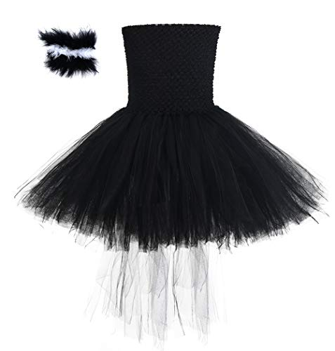 Birthday Party Animal Skunk Tail Costume for Girls Halloween Pageant Party Dress Up for Kids with Headband Size 7-8 -