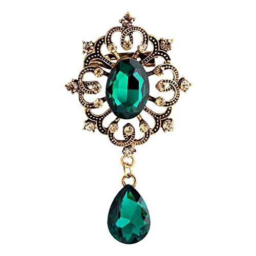 - Vintage ZJ-AE135 Drop Design Brooch for Women-Green