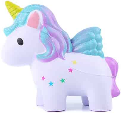 AOLIGE Squishies Slow Rising Jumbo Kawaii Cute Colored Unicorn Creamy Scent for Kids Party Stress Reliever Toy, 彩色