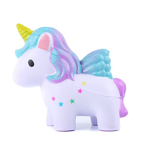 (AOLIGE Squishies Slow Rising Jumbo Kawaii Cute Colored Unicorn Creamy Scent for Kids Party Toys Stress Reliever Toy)