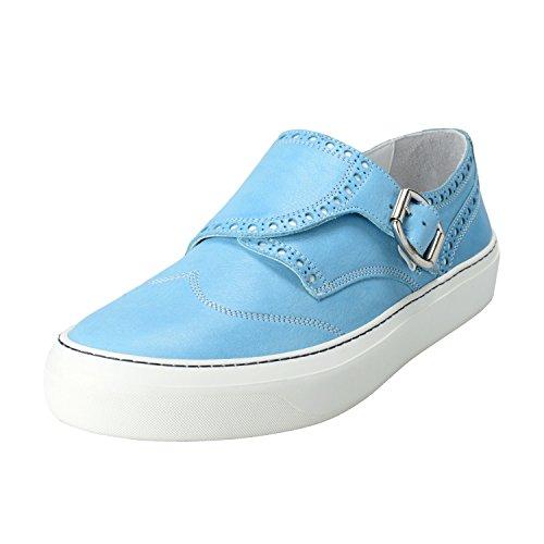Jimmy Choo Menns Blå Malibu Skinn Munk Stropp Loafers Sko Blå