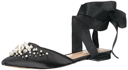 The Fix Women's Porter Pointed Toe Ankle Wrap Flat Slide with Pearls, black satin, 8.5 B US ()