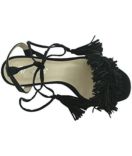 6Carina 101111 Damen Sandalen mit Absatz Camoscio Nero