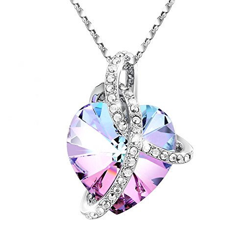 Mother's Day Gift-Adan Banfi 925 Sterling Silver Purple Blue Heart Pendant Chain Necklace Jewelry with Austrian (Beaded Silver Necklace)