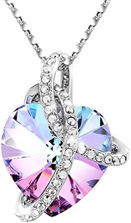 Heart Crystal/Birthstone Pendant Necklace, Adan Banfi Purple Blue Love Jewelry Made with Swarovski Crystals, Ideal Gifts for Women - Courageous Heart, Birthday Gifts