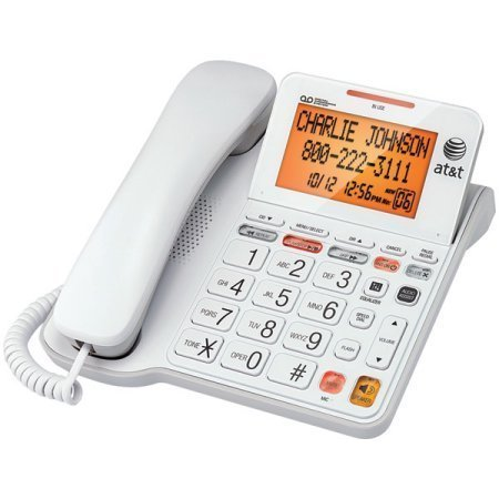 At&T Cl4940 Corded Phone With Answering System, Backlit Display, Extra Large Color: White Tilt Display/Buttons, Caller Id/Call Waiting And Audio Assist, White by Generic