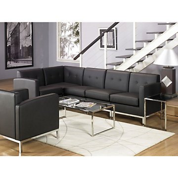 Wall Street L-Shaped Sofa in Faux Leather