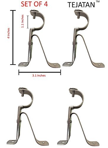 TEJATAN Curtain Rod Brackets - Silver (Set of 4 Brackets)(Also known as - Curtain rod Holder /Window Drapery rod bracket set for Draperies / adjustable curtain rod brackets)