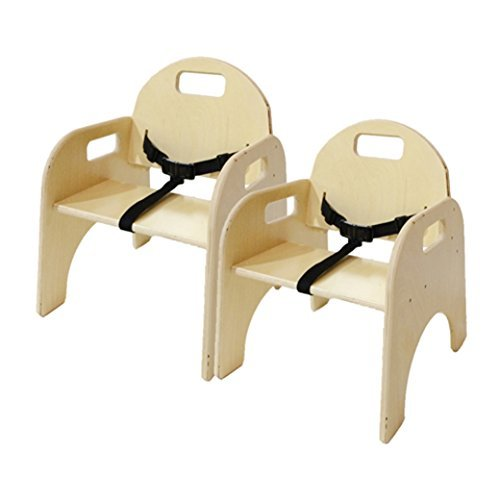"Wood Designs Stackable Woodie Toddler Chair with Seatbelt, 9"" High Seat, Set of 2"