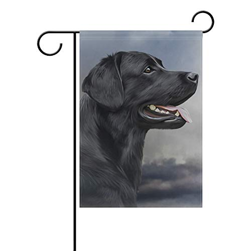 Hokkien Oil Painting Black Labrador Dog Garden Flag Banner 12 x 18 Inch Decorative Garden Flag for Outdoor Lawn and Garden Home Décor Double-Sided