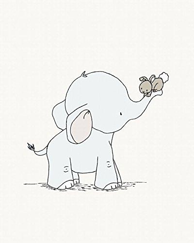 Elephant and Bunny - Hold On Tight - Nursery Art Print