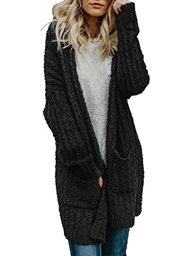 Asvivid Womens Comfy Open Front Popcorn Long Cardigans Baggy Lightweight Fluffy Fuzzy Warm Sweater Outwear Coat L Black