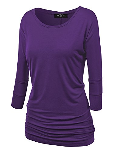 Made By Johnny MBJ WT822 Womens 3/4 Sleeve with Drape Top XL Dark_Purple