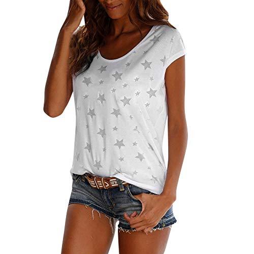 - Dressin Shirt for Women, Women's Bohemian Star Print Short Sleeve Tops Round Neck Pure T Shirt Blouse White