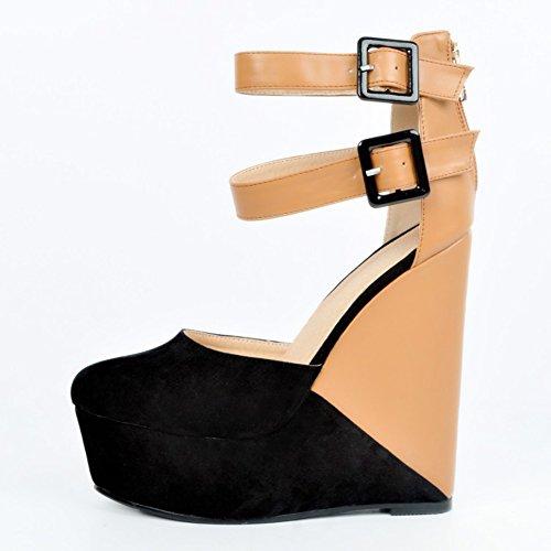 Kolnoo Damen Faschion 15cm zweiteilige Patchwork Buckle Heel Plattform Sandelholz Trägern Wadge Nude
