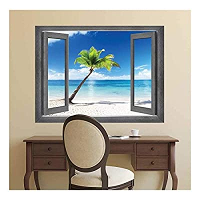Astonishing Creative Design, Open Window Creative Wall Decor A Lone Palm Tree Set Before a Crystal Blue Ocean Wall Mural, Professional Creation