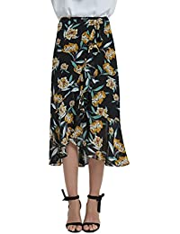 Womens A Line Floral Print Midi Skirt with Ruffle on The Front