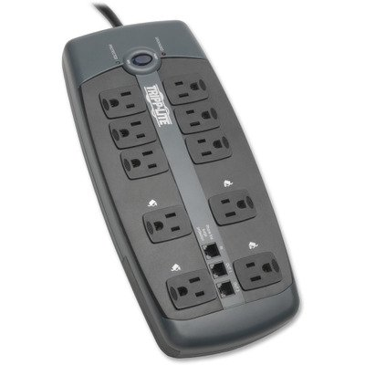 Tripp Lite 10 Outlet Surge Protector Power Strip, 8ft Cord, Tel/DSL Protection, RJ11, 150,000 INSURANCE (TLP1008TEL) from Tripp Lite