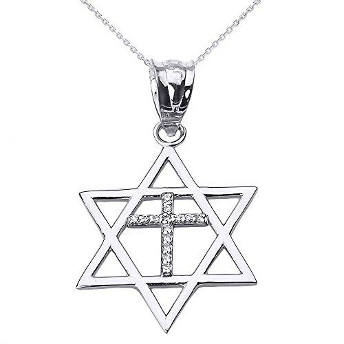 High Polish 10k White Gold Jewish Charm Star Diamond Cross of David Pendant Necklace, 16