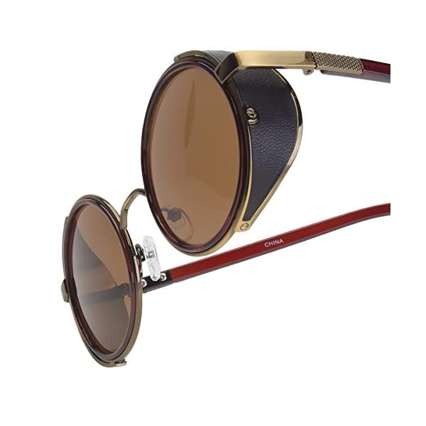 Sunclassy Metal Frame Side Shield Oval 52mm Hipster Round Sunglasses Vintage Retro Steampunk Gothic Hippie Circle Retro (Brown, Brown) 5