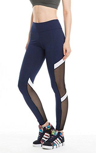 Lichene Women's Long Mesh High-Stretch High-Waist Skinny Workout Leggings Yoga Tights Pants (L/XL, Dark Blue)